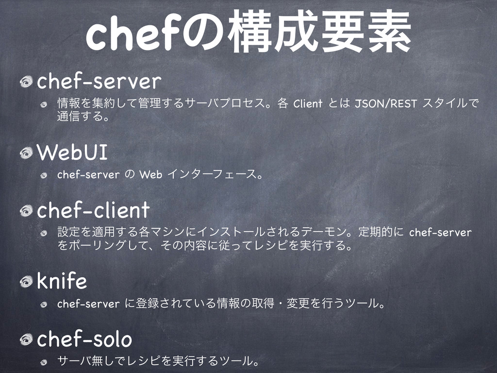 chefͷߏཁૉ chef-server ใΛूͯ͠ཧ͢Δαʔόϓϩηεɻ֤ Clie...