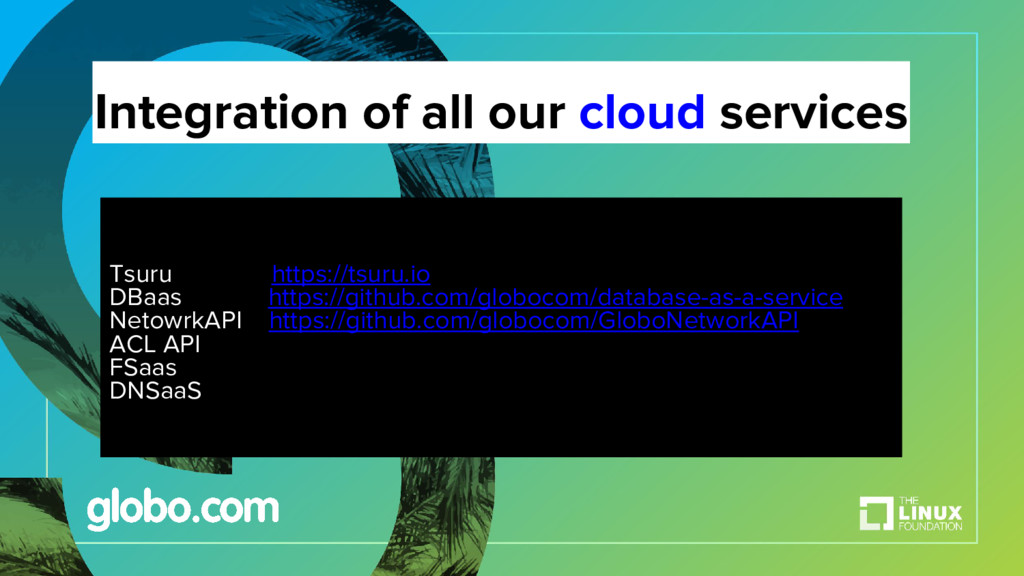 Integration of all our cloud services Tsuru htt...