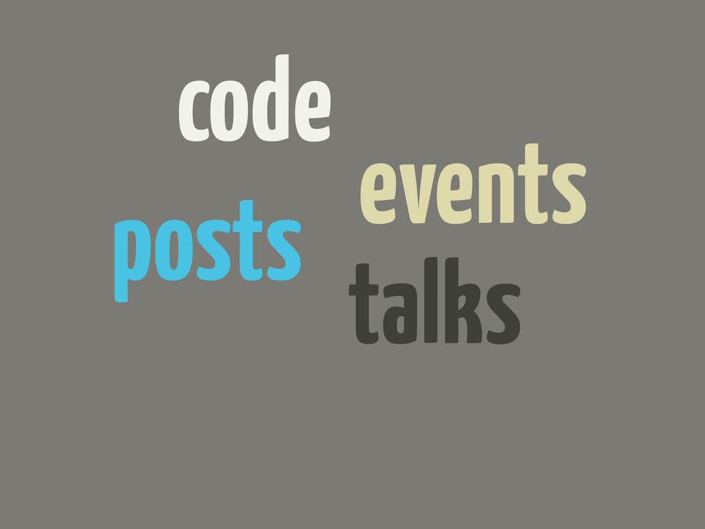 code events posts talks