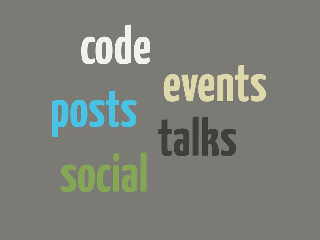 code events posts talks social