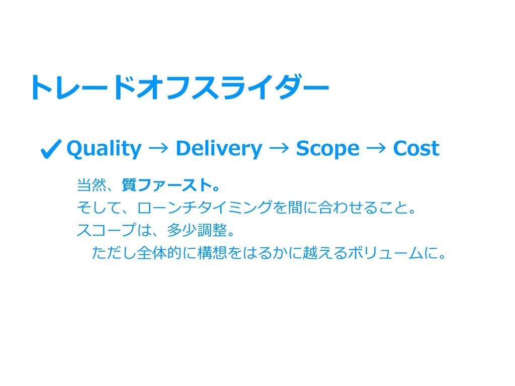 トレードオフスライダー Quality → Delivery → Scope → Cost 当...