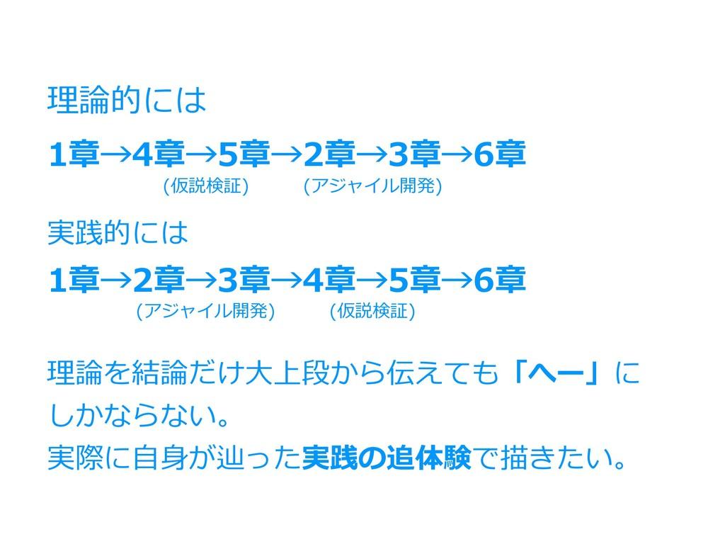 1章→4章→5章→2章→3章→6章 1章→2章→3章→4章→5章→6章 理論的には 実践的には...