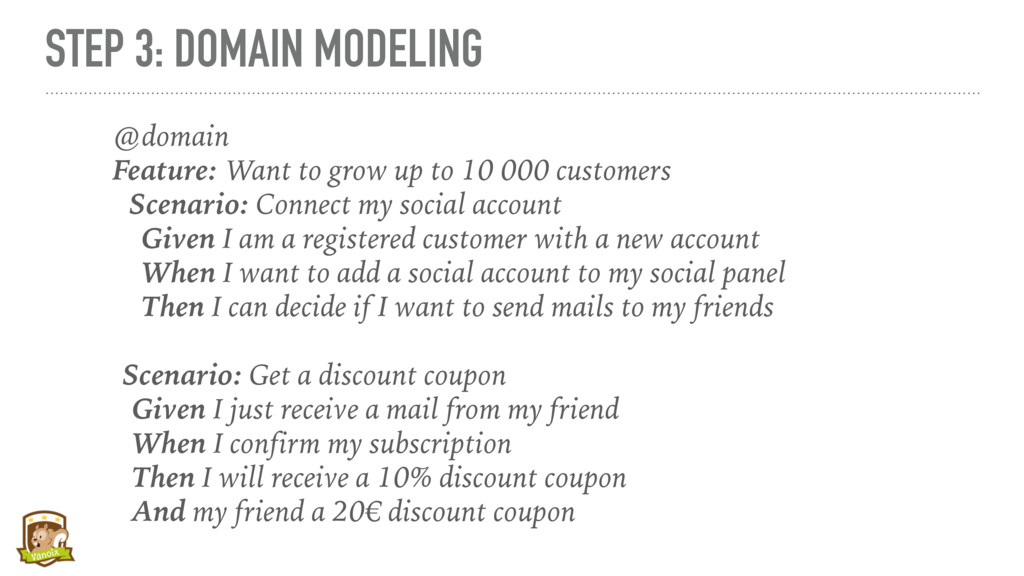 STEP 3: DOMAIN MODELING @domain Feature: Want t...