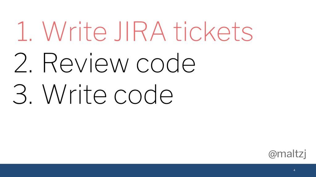 @maltzj 4 1. Write JIRA tickets 2. Review code ...