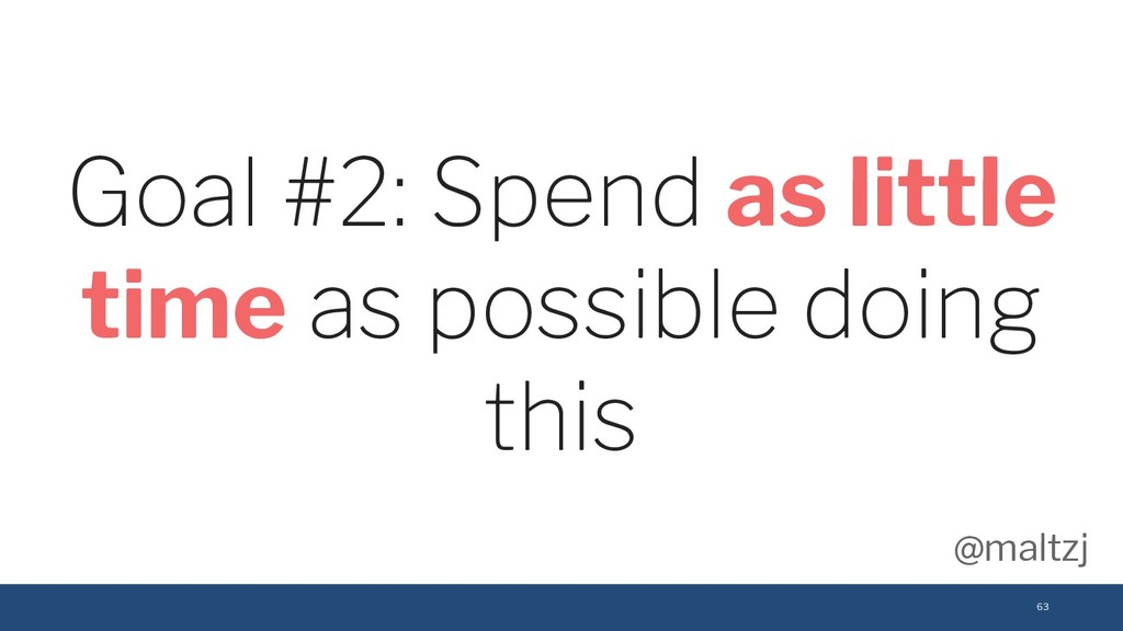 @maltzj 63 Goal #2: Spend as little time as pos...