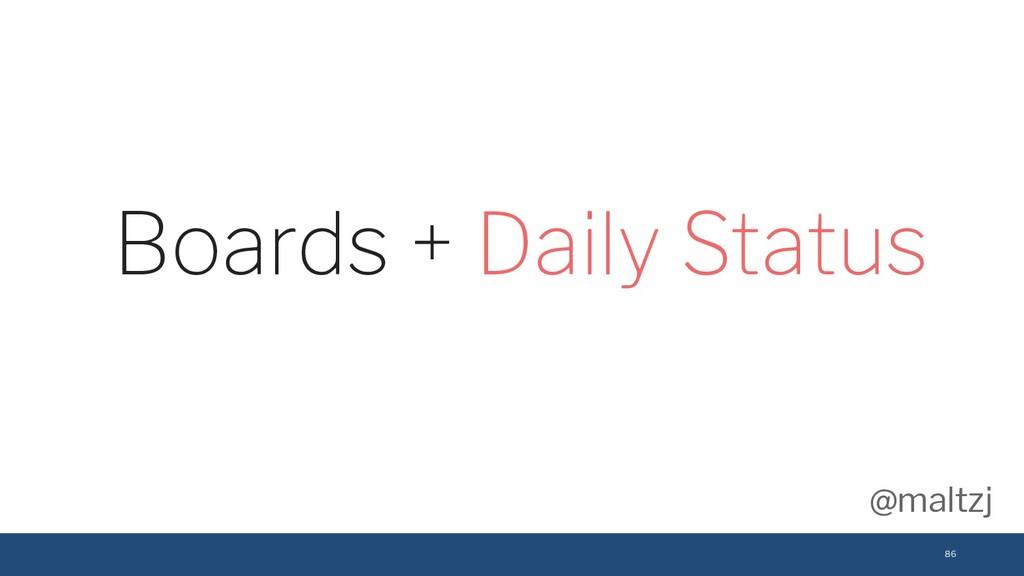 @maltzj 86 Boards + Daily Status