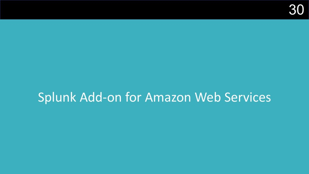 30 Splunk Add-on for Amazon Web Services