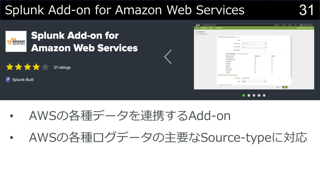 31 Splunk Add-on for Amazon Web Services • AWSの...