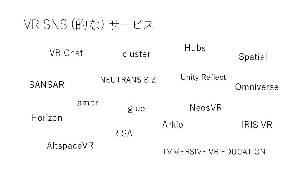 VR SNS (的な) サービス VR Chat cluster Hubs ambr Hori...