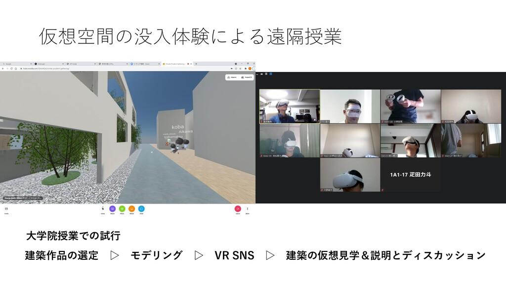 仮想空間の没入体験による遠隔授業 建築作品の選定 ▷ モデリング ▷ VR SNS ▷ 建築の...