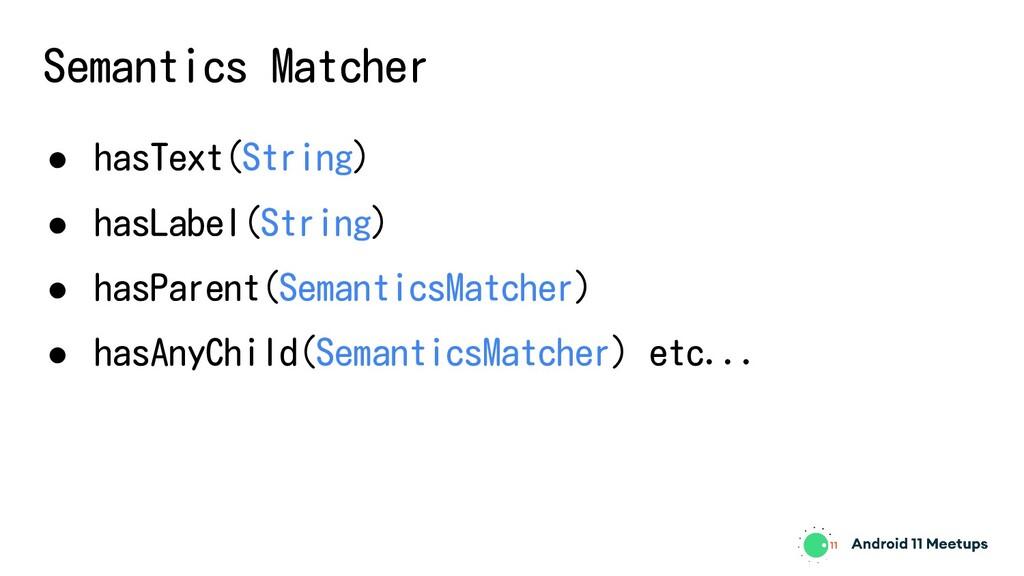 Semantics Matcher ● hasText(String) ● hasLabel(...