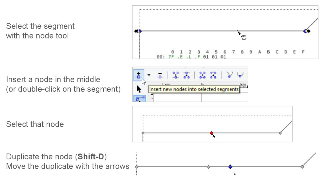 Select the segment with the node tool Insert a ...