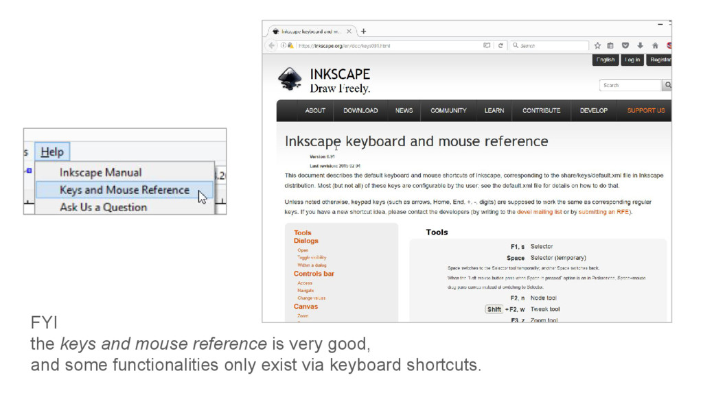 FYI the keys and mouse reference is very good, ...