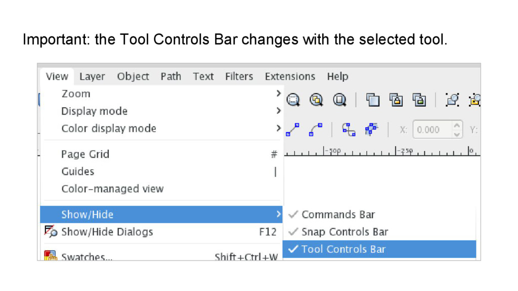 Important: the Tool Controls Bar changes with t...