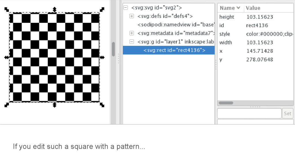 If you edit such a square with a pattern...