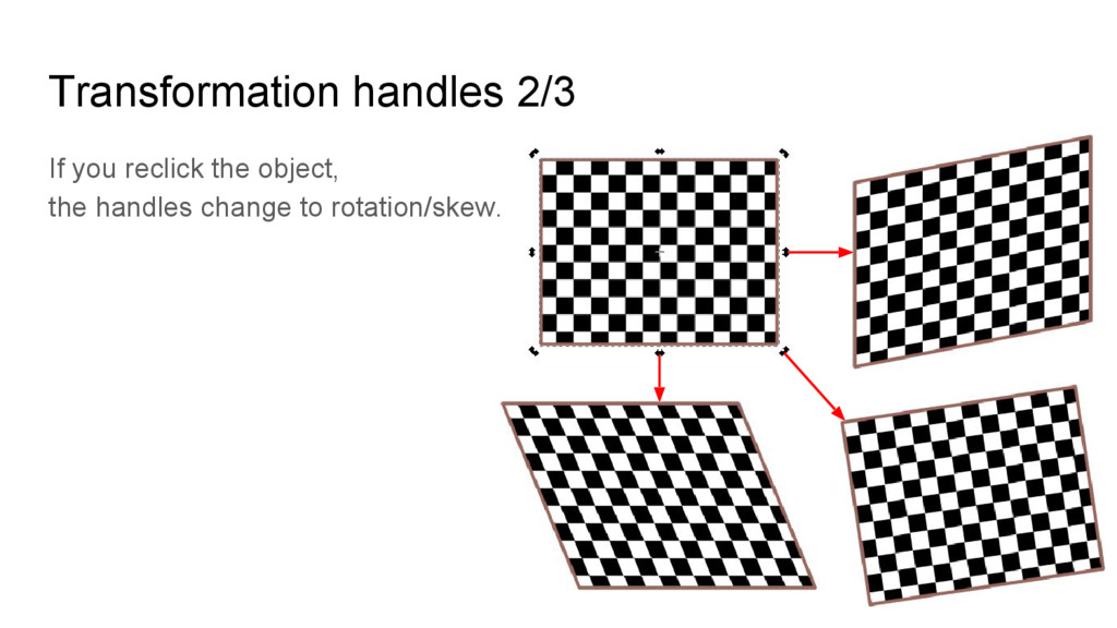 Transformation handles 2/3 If you reclick the o...