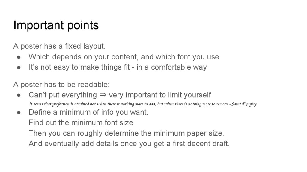Important points A poster has a fixed layout. ●...