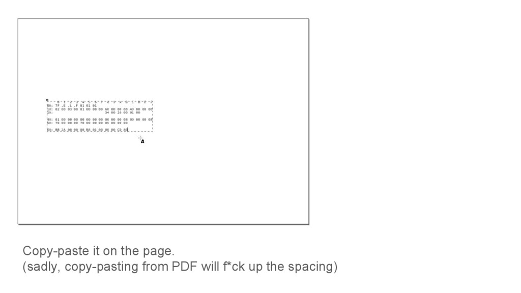 Copy-paste it on the page. (sadly, copy-pasting...