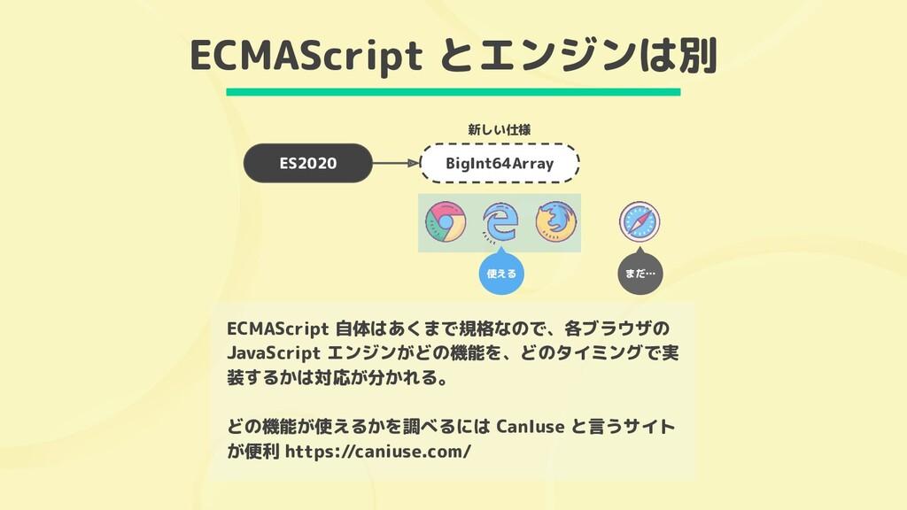 ECMAScript とエンジンは別 ES2020 ECMAScript 自体はあくまで規格な...