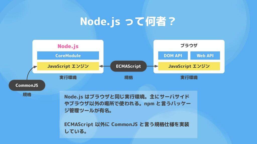 Node.js って何者? ブラウザ JavaScript エンジン DOM API Web ...