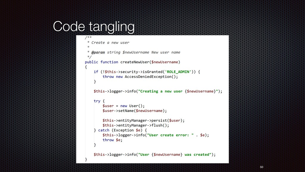 Code tangling 50