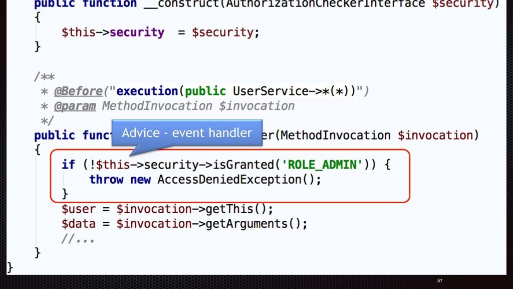 Authorization aspect: 57 Advice - event handler