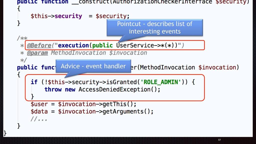 Authorization aspect: 57 Pointcut - describes l...