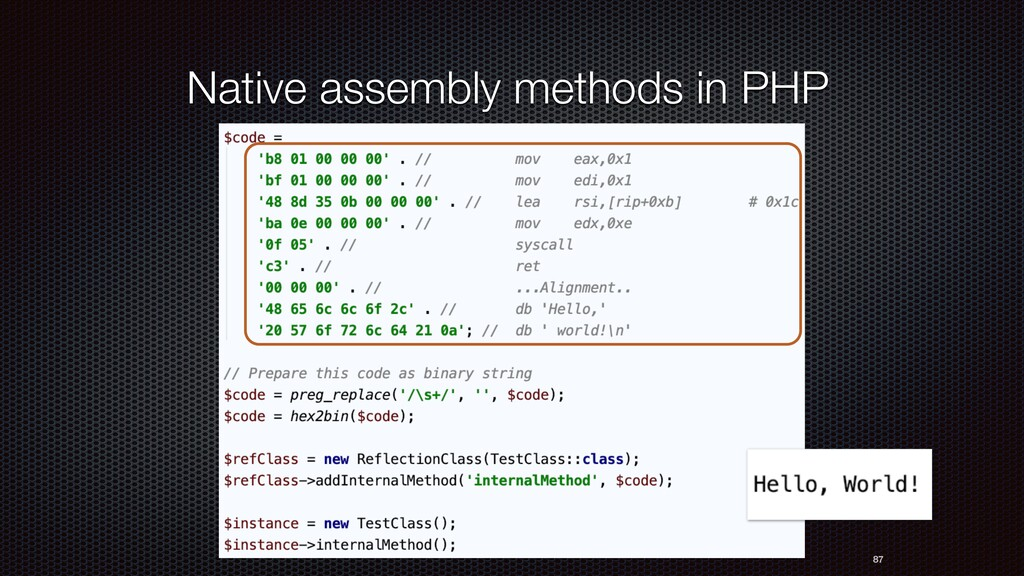87 Native assembly methods in PHP