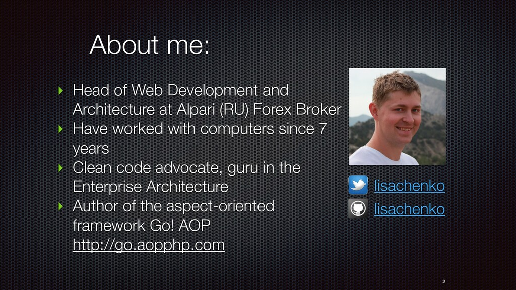 About me: ‣ Head of Web Development and Archite...