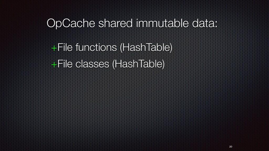 20 OpCache shared immutable data: +File functio...