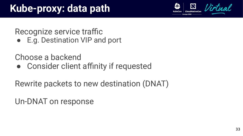 Kube-proxy: data path Recognize service traffic ●...