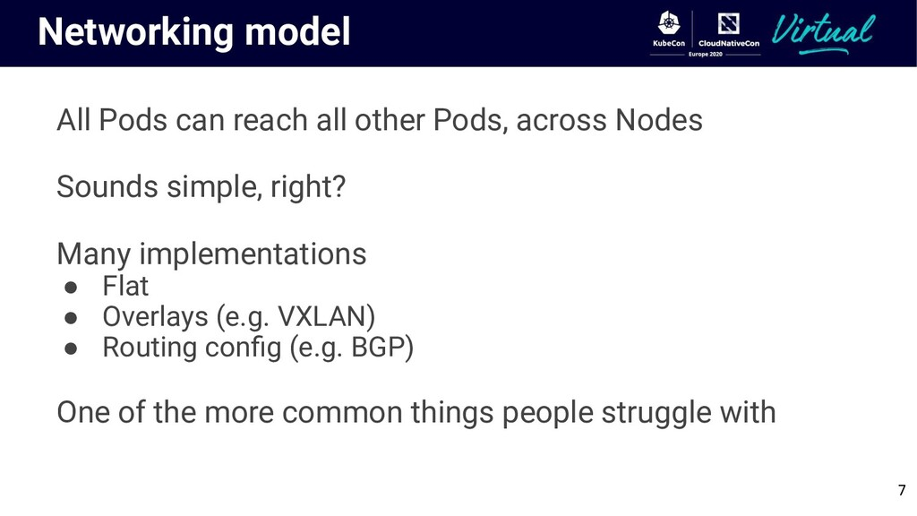 Networking model All Pods can reach all other P...