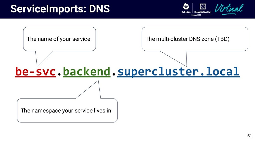 ServiceImports: DNS The name of your service Th...
