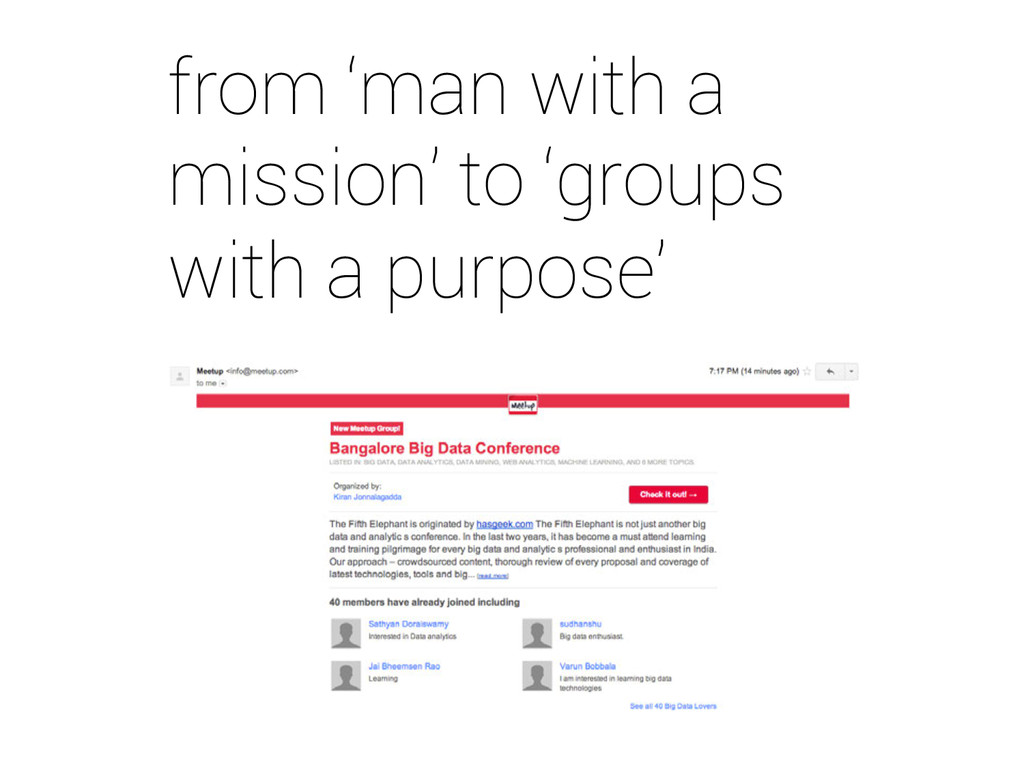 from 'man with a mission' to 'groups with a pur...
