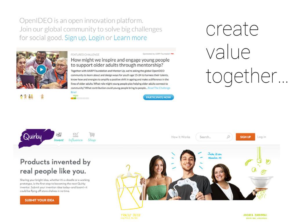 create value together…