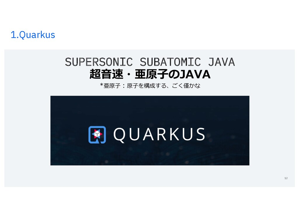 1.Quarkus 12 SUPERSONIC SUBATOMIC JAVA 超⾳速・亜原⼦の...