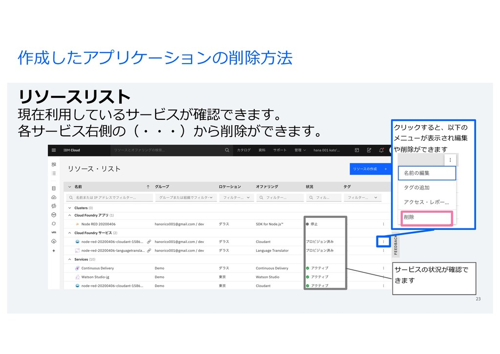 作成したアプリケーションの削除⽅法 リソースリスト 現在利⽤しているサービスが確認できます。 ...
