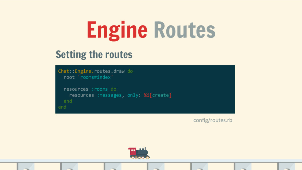 Engine Routes Setting the routes Chat::Engine.r...