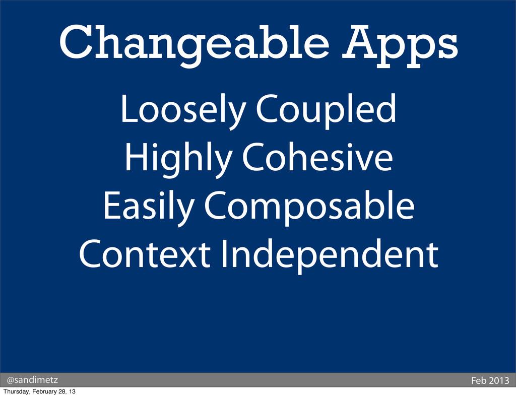 @sandimetz Feb 2013 Changeable Apps Loosely Cou...