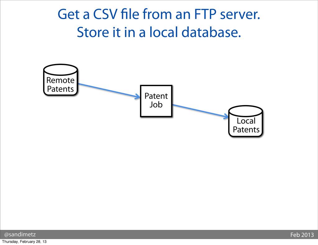 @sandimetz Feb 2013 Get a CSV le from an FTP se...