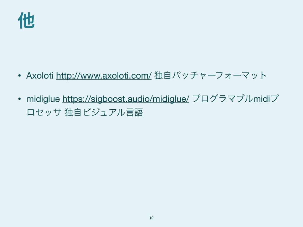 • Axoloti http://www.axoloti.com/ ಠࣗύονϟʔϑΥʔϚοτ...