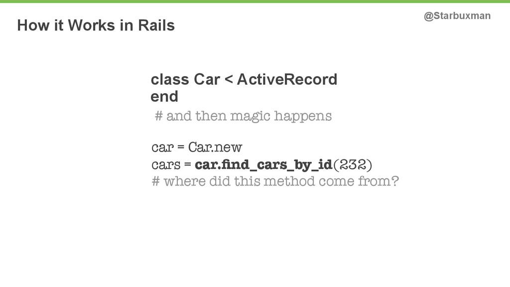 How it Works in Rails @Starbuxman class Car < A...