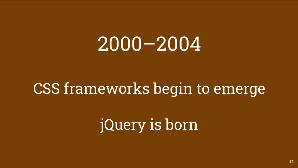 2000–2004 CSS frameworks begin to emerge jQuery...