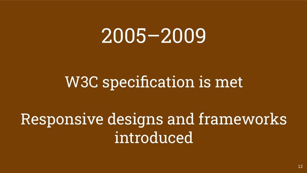 2005–2009 W3C specification is met Responsive de...
