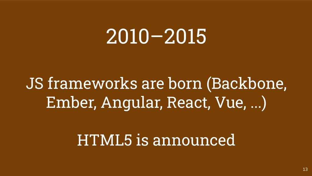 13 2010–2015 JS frameworks are born (Backbone, ...