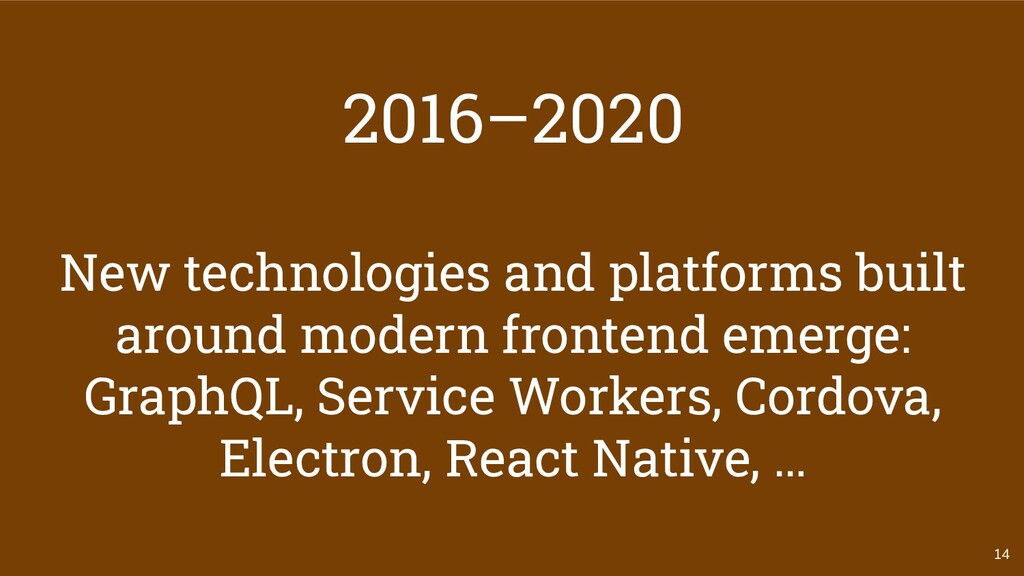 14 2016–2020 New technologies and platforms bui...