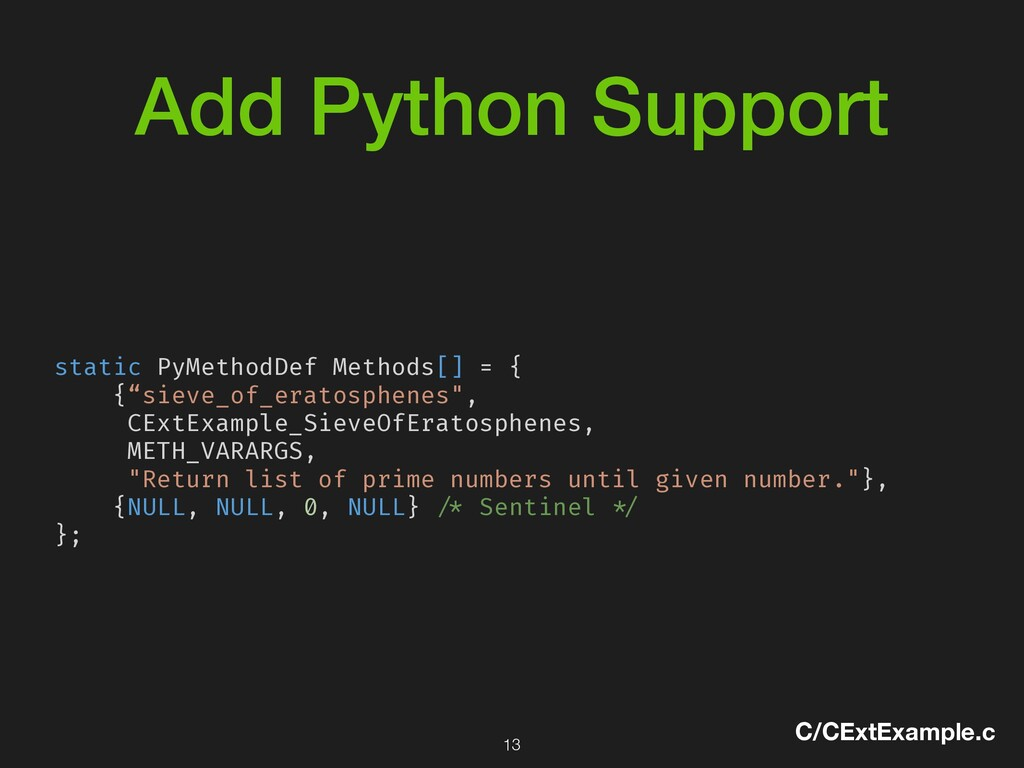 Add Python Support C/CExtExample.c static PyMet...