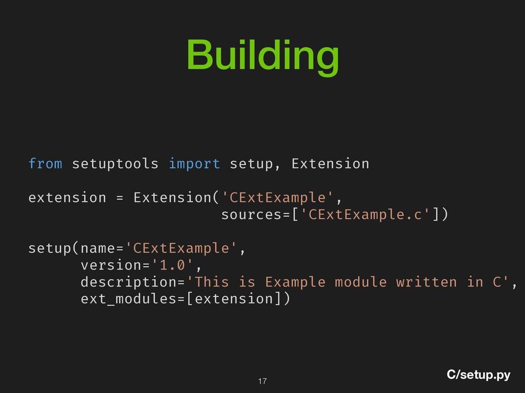 Building from setuptools import setup, Extensio...