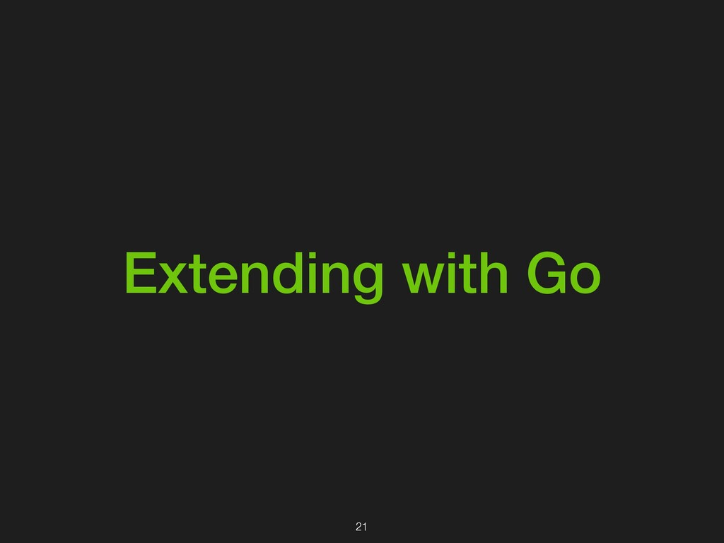 Extending with Go 21