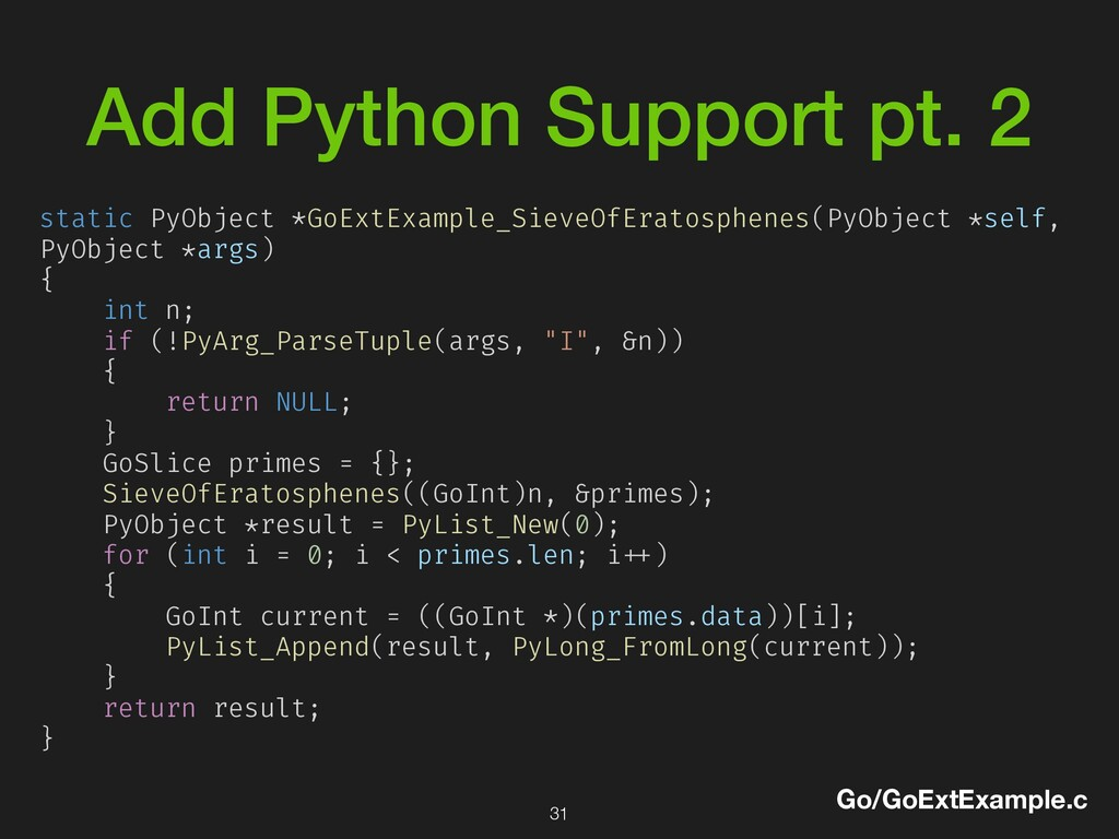 Add Python Support pt. 2 Go/GoExtExample.c stat...
